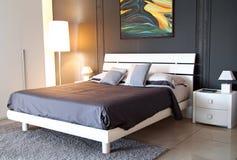 Modern grey colour bedroom Stock Image