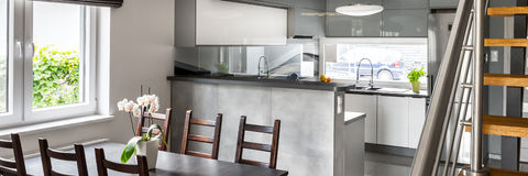 Modern grey kitchen royalty free stock photos