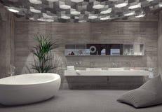 Modern grey luxury bathroom interior Royalty Free Stock Photography
