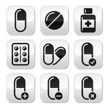 Pills, medication   buttons set Stock Photo