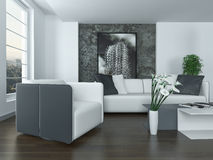 Modern grey and white living room interior Stock Photo
