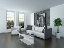Modern grey and white sitting room interior Stock Photos