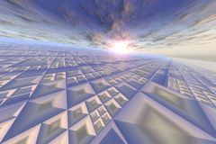 Modern Grid On Sky Horizon Royalty Free Stock Photos