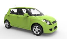 Modern grön kompakt bil Arkivfoton