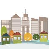 Modern Groen Stadsconcept Stock Afbeelding