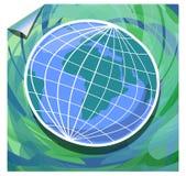 Modern grungebakgrund med jordklotet i gräsplan och blått planlägger Arkivbild