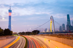 Modern guangzhou in nightfall Royalty Free Stock Images