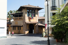 Modern guest house in the middle of the square #2. Salsomaggiore Royalty Free Stock Photography