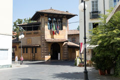 Modern guest house in the middle of the square. Salsomaggiore Italy Royalty Free Stock Photo