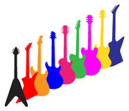 Modern Guitar Silhouettes Royalty Free Stock Images