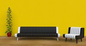 Modern gul vardagsrum Arkivfoton