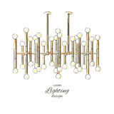 Modern guld- lampa Royaltyfria Bilder