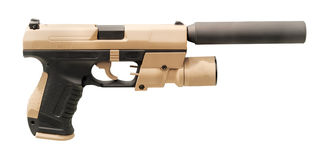Modern gun with silencer Stock Photography
