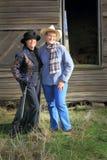 Modern Gunslinger Cowgirls Stock Images