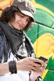 Modern guy with mobile phone Royalty Free Stock Photo