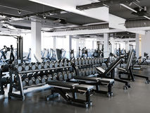 Modern gym with dumbbell set. 3d rendering Royalty Free Stock Image