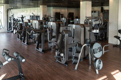 Modern Gym Interior With Equipment Stock Image