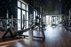 Modern Gym Interior With Equipment Stock Images
