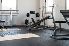 Modern Gym Interior With Equipment Stock Photo