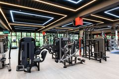 Modern gym interior royalty free stock photography