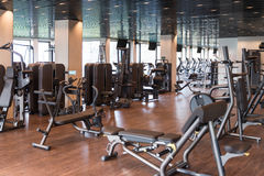 Modern Gym Interior With Equipment Royalty Free Stock Photography