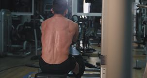 In a modern gym muscular man doing exercises for his triceps concentrated working hard. 4k stock video footage