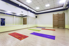 Modern gymnastics room with mirrors Stock Image