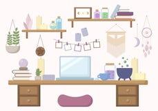 Modern häxaworkspace i plan illustration för pastellfärgade färger royaltyfri illustrationer