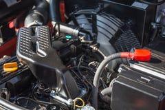 Modern högteknologisk motor eller motor av det industriella laddar- eller sammanslutningmedlet eller den lilla traktoren Arkivfoto