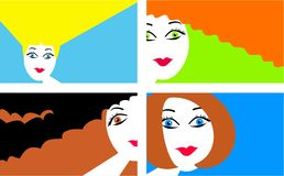 Modern hair. Set of four illustrations of pretty women with modern hairstyles Stock Photo