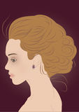 Modern hair-style beautiful woman silhouette Royalty Free Stock Photography