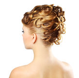Modern hairstyle isolated on a white royalty free stock photo
