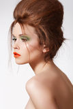 Modern Hairstyle On Luxury Model, Fashion Make-up Royalty Free Stock Photography