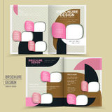 Modern half-fold brochure design. With colorful geometric patterns Stock Photos