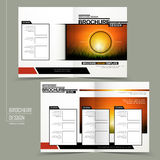 Modern half-fold brochure design. Isolated on grey background Stock Image