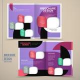 Modern half-fold brochure template design in purple Stock Photos