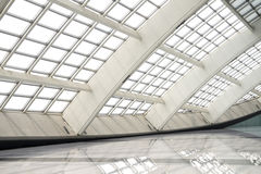 Modern hall in beijing T3 airport. With big windows stock photo