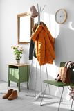 Modern hall interior with clothes. Modern hall interior with hanging clothes Stock Photography