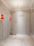 Modern Hall Interior Design met Marmeren Tegelsvloer en Beige Royalty-vrije Stock Afbeeldingen