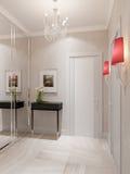 Modern Hall Interior Design met Marmeren Tegelsvloer en Beige Wa Royalty-vrije Stock Afbeelding