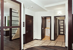 Modern hall interior with many hardwood doors. And mirror Stock Image