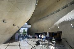 Modern hall in Museum of History of Polish Jews in Warsaw. WARSAW, POLAND - SEPTEMBER 06, 2014: Futuristic hall in Museum of History of Polish Jews in Warsaw Royalty Free Stock Photo