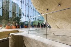 Modern hall in Museum of History of Polish Jews in Warsaw Royalty Free Stock Photo