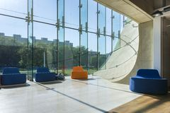 Modern hall in Museum of History of Polish Jews in Warsaw. Royalty Free Stock Photo