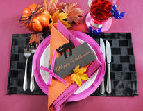 Modern Halloween Party Table Place Setting with text Royalty Free Stock Image
