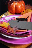Modern Halloween Table Place Setting - vertical closeup. Stock Images