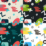 Modern hand draw abstract seamless pattern set Royalty Free Stock Photo