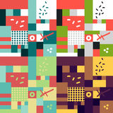 Modern hand draw abstract seamless pattern set Stock Image