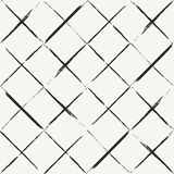 Modern hand drawn grungy diagonal tiles background - monochrome. Abstract vector seamless pattern stock illustration
