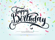 Modern hand drawn lettering Happy Birthday. Handwritten inscriptions for layout and template. Vector illustration royalty free illustration